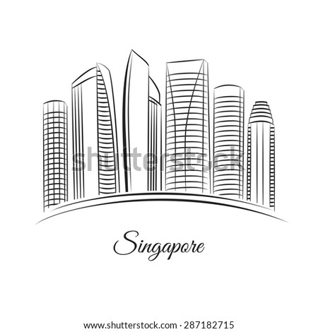 Singapore city skyline - stock vector
