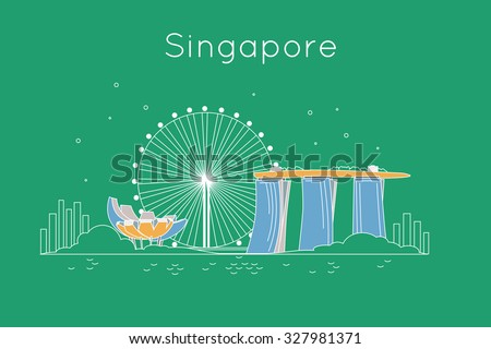 Singapore City travel vector background. Trendy outline style Singapore attraction. Detailed skyline silhouette. - stock vector