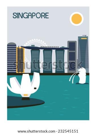 Singapore city. Vector - stock vector