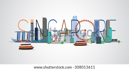 Singapore city. Vector illustration - stock vector