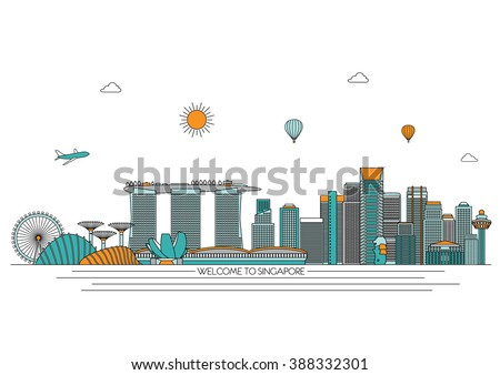 Singapore detailed Skyline. Travel and tourism background. Vector background. line illustration. Line art style - stock vector