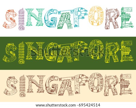 Singapore Doodle Style Word Icon With Tourism Or Travel Destination Concept Editable Clip Art