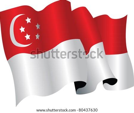 singapore flag - stock vector
