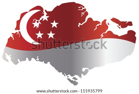 Singapore Flag in Country Map Silhouette Isolated on White Background Vector Illustration - stock vector