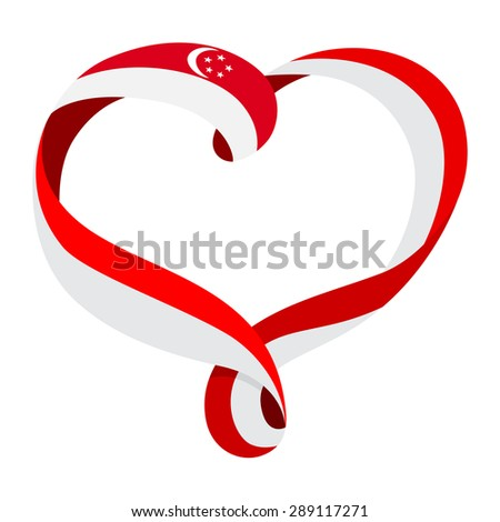 Singapore flag ribbon-shaped heart, symbol of love and harmony, vector illustration. - stock vector