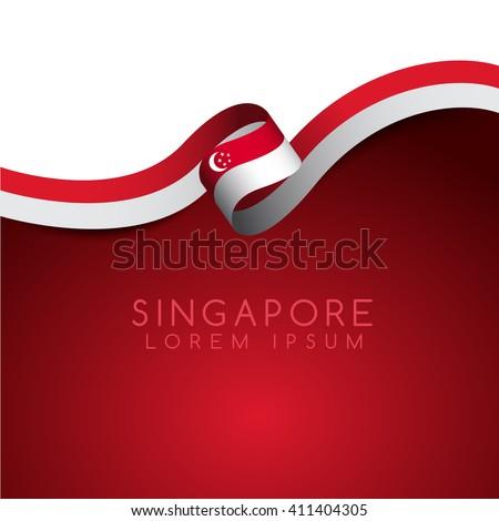 Singapore Flag Ribbon : Vector Illustration - stock vector