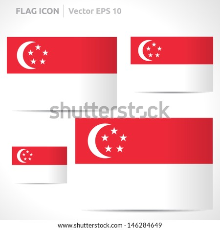 Singapore flag template | vector symbol design | color red and white | icon set - stock vector