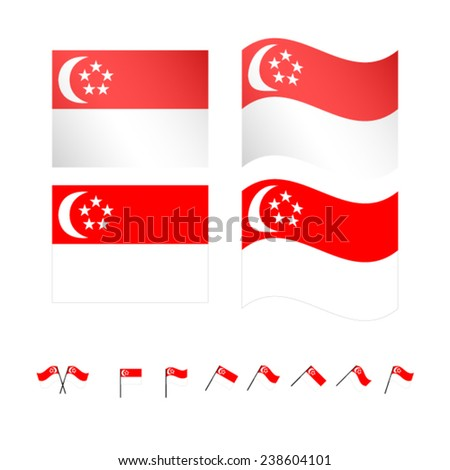 Singapore Flags EPS 10