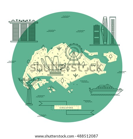 singapore flat line map in a circle singaporean top tourist attractions tourist guide template
