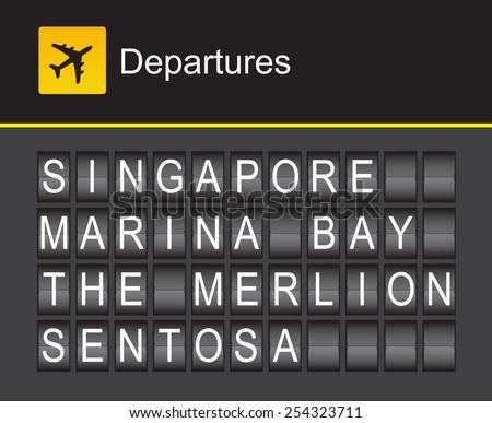 Singapore flip alphabet airport departures, Singapore, Marina Bay, The Merlion, Sentosa - stock vector