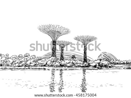 Singapore Gardens By Bay Unusual Perspective Stock Vector