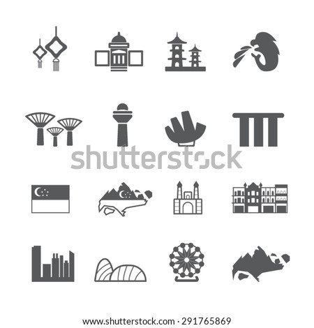 Singapore icons set, Vector - stock vector