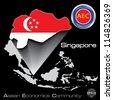 Singapore in Asean Economic Community, AEC, Vector - stock photo