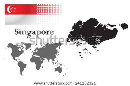 Singapore info graphic with flag , location in world map, Map and the capital ,Singapore, location.(EPS10 Separate part by part) - stock vector