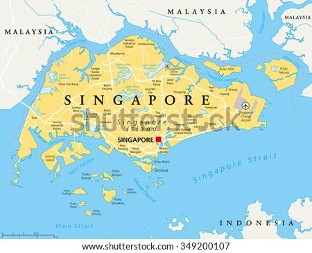 Singapore Island Political Map Capital Singapore Stock Vector
