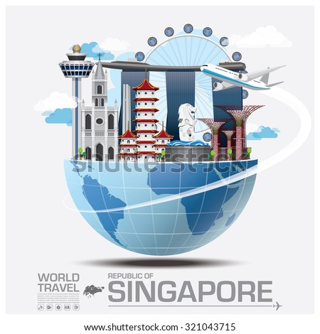 Singapore Landmark Global Travel And Journey Infographic Vector Design Template - stock vector