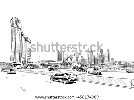Singapore. Marina Bay Sands. Unusual perspective hand drawn sketch. City vector illustration