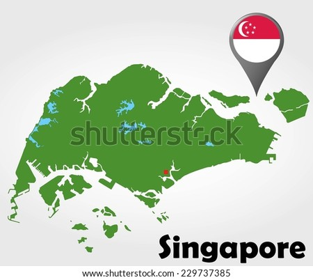 Singapore political map with green shades and map pointer. - stock vector