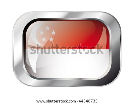 singapore shiny button flag vector illustration. Isolated abstract object against white background. - stock vector