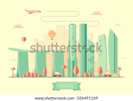 Singapore skyline architecture, vector illustration with plane, cars and air balloon, flat design - stock vector