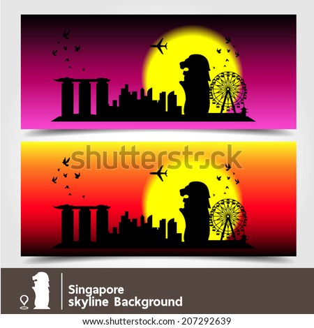 Singapore, skyline background, vector Illustration - stock vector