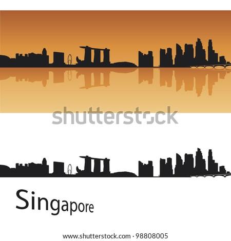 Singapore skyline in orange background in editable vector file - stock vector