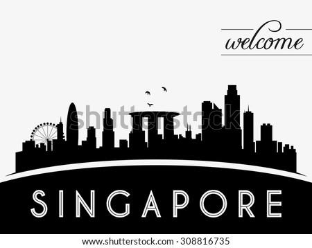 Singapore skyline silhouette black and white design, vector illustration - stock vector