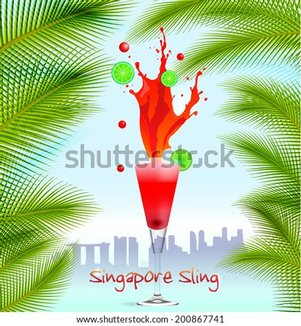Singapore Sling vector  background with palm trees - stock vector