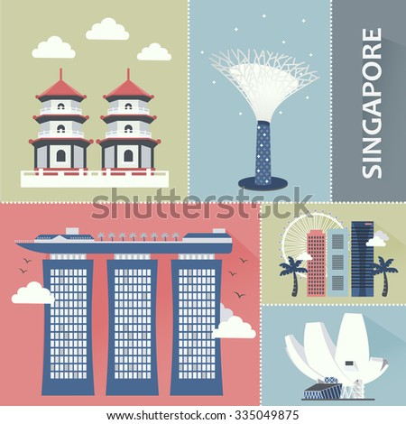 Singapore travel attractions collection in flat style - stock vector