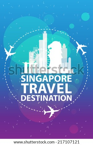 singapore travel vector - stock vector