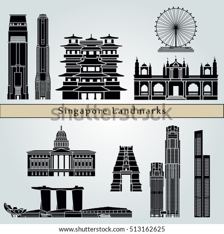 Singapore V2  landmarks and monuments isolated on blue background in editable vector file