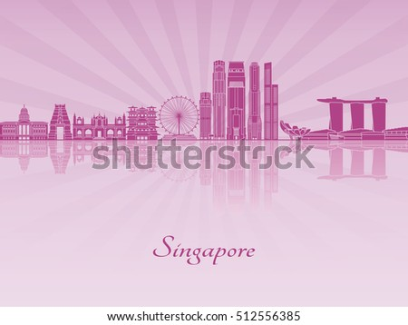 Singapore V2 skyline in purple radiant orchid in editable vector file