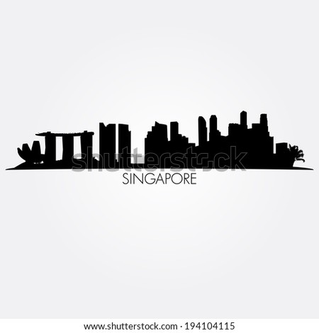 Singapore vector skyline.  Black detailed silhouette of Marina Bay - stock vector