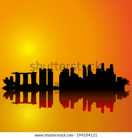 Singapore vector skyline.  Black detailed silhouette on sunset sky - stock vector