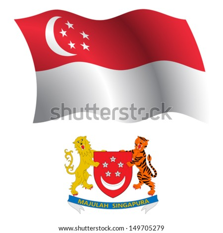 singapore wavy flag and coat of arm against white background, vector art illustration, image contains transparency - stock vector