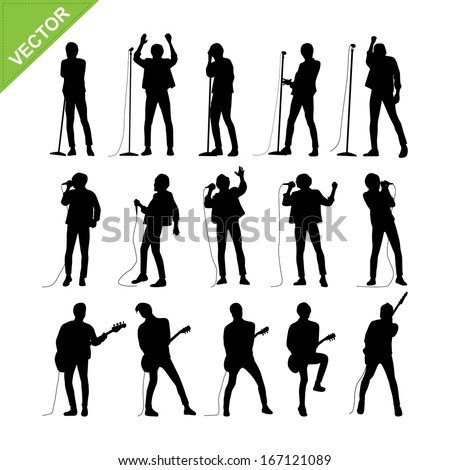 Singer and musicians silhouettes vector - stock vector