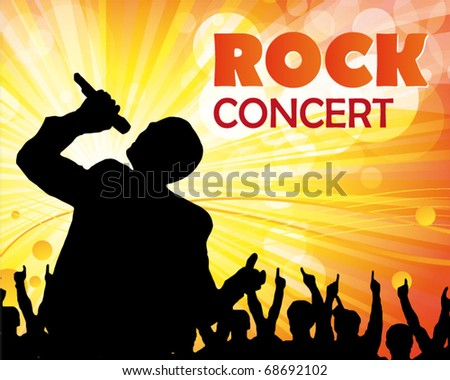 singer and the crowd of fans - vector concert poster - stock vector
