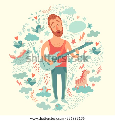 Singer cartoon guitarist playing guitar on a colorful background.  Isolated vector illustration - stock vector