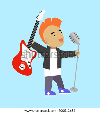 Singer guitarist with microphone and guitar. Popular rock singer singing a song with electric guitar and microphone isolated on background. Young guy with iroquois haircut. Vector illustration - stock vector