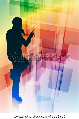 Singer on Abstract Background Original Vector Illustration - stock vector