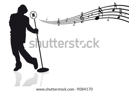 Singer with microphone and musical notes - vector illustration - stock vector