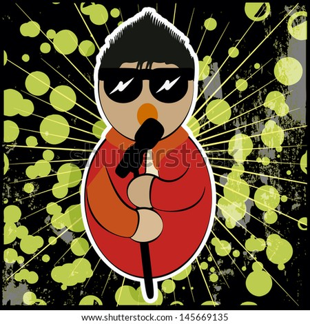singer with microphone and sunglasses in his hands, on a background of colored dots and black acid green. - stock vector