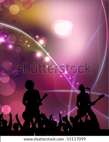singers and the crowd of fans - vector concert poster - stock vector