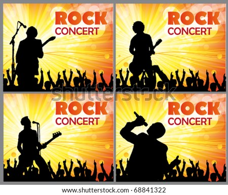 singers and the crowd of fans - vector concert posters - stock vector