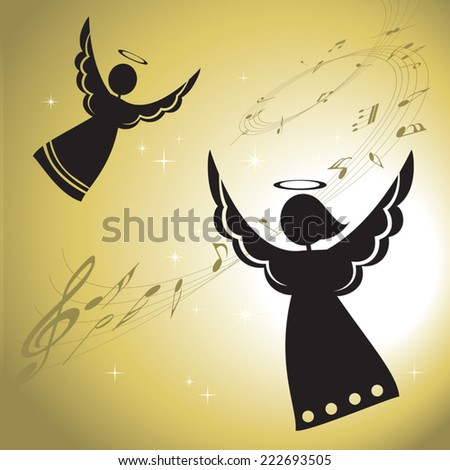 Singing angels silhouettes. Singing angels with musical notes. - stock vector