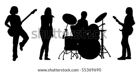 singing band silhouette vector - stock vector
