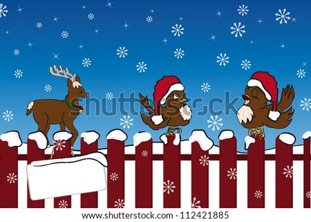 Singing bird on the fence and giggling Rudolph in winter - stock vector