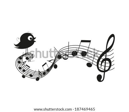 Singing bird silhouette with music notes - stock vector