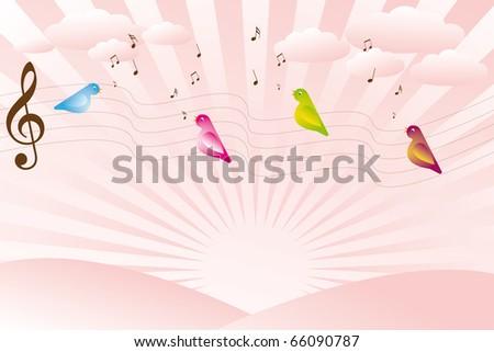 Singing birds on sunrise - stock vector