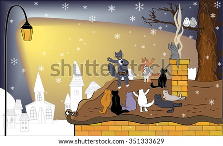 Singing cat with microphone and audience. Winter background with cute cats. Singer cat on the roof and his fans. February serenade. Cats concert.